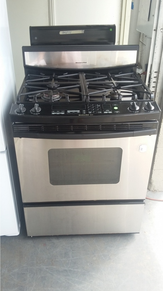 KITCHENAID SUPERBA STAINLESS AND BLACK 4 BURNER GAS RANGE *OUT OF STOCK*    Kimou0027s Appliances Van Nuys