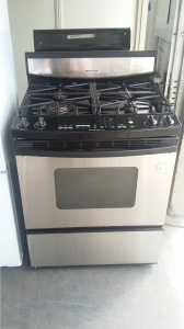 KITCHENAID SUPERBA STAINLESS AND BLACK 4 BURNER GAS RANGE