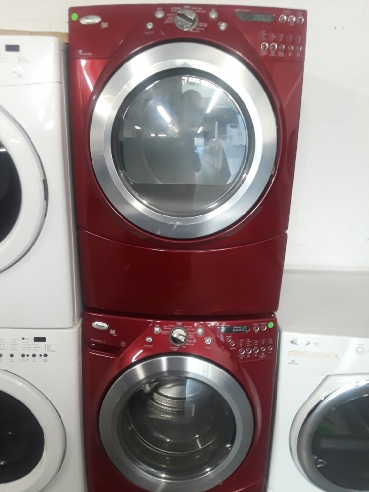 Whirlpool Duet Red Front Load Washer W Gas Dryer Set Out