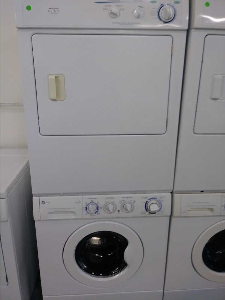 Ge White 3 1 Stackable Washer With Gas Dryer Set Kimo S