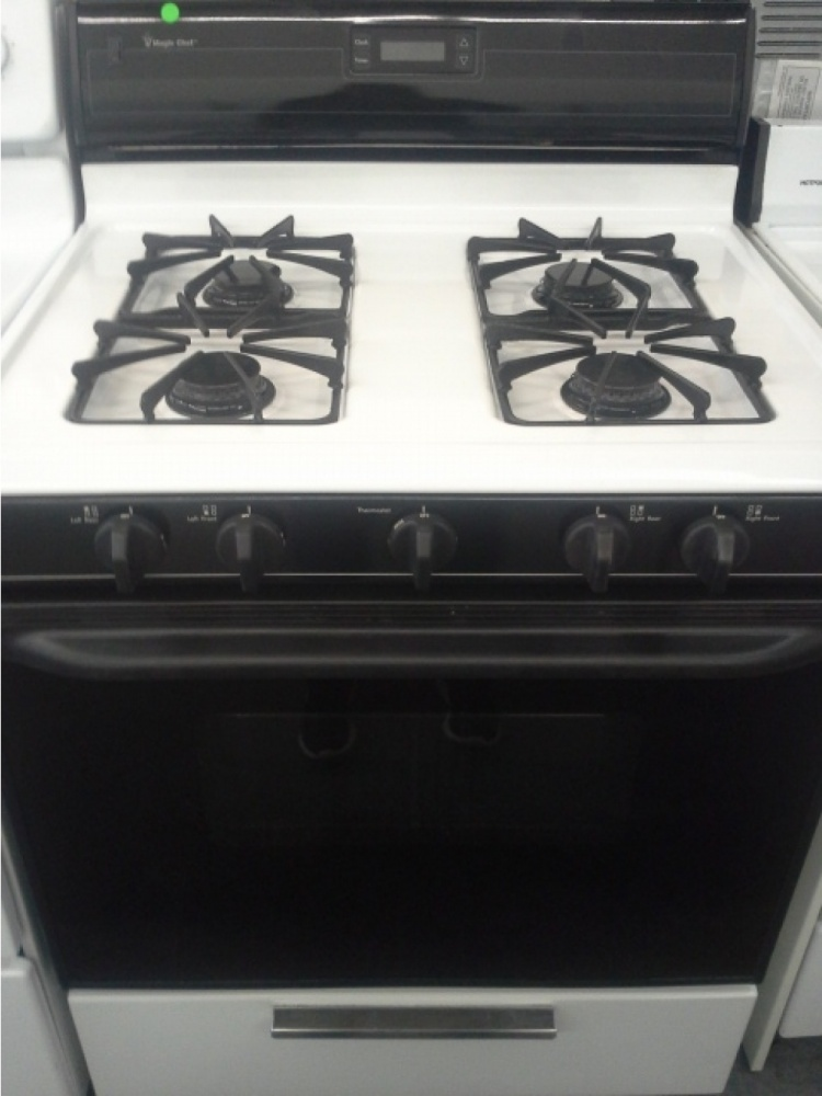 Used Washer Dryer >> MAGIC CHEF BLACK & WHITE 4-BURNER GAS RANGE *OUT OF STOCK* - Kimo's Appliances Van Nuys